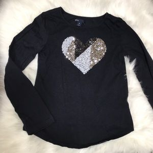 Gap girls black shirt with sequined heart.